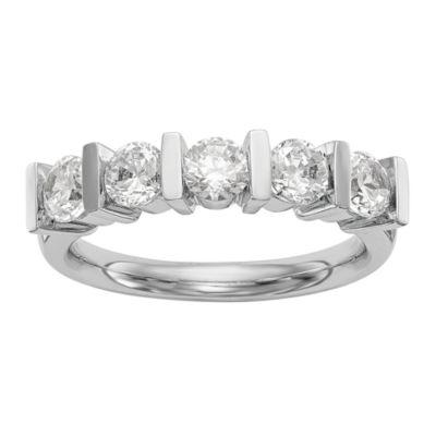 Womens 2.5mm 1 1/2 CT. T.W. Genuine White Diamond 14K White Gold Round Wedding Band