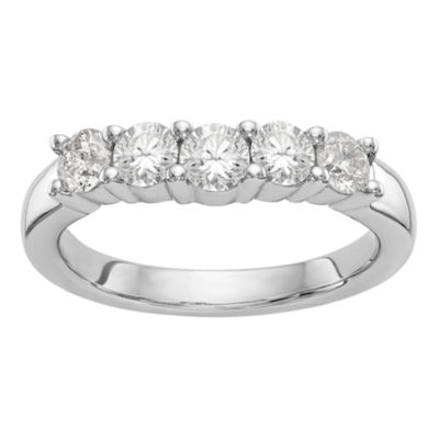 Womens 2.5mm 7/8 CT. T.W. Genuine White Diamond 14K White Gold Round Wedding Band