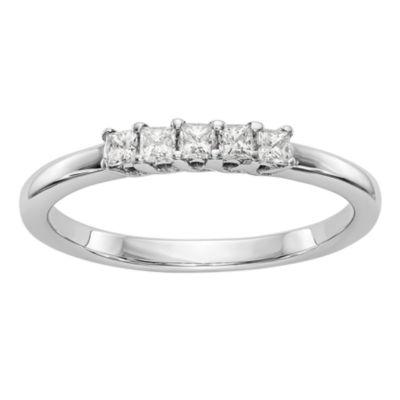 Womens 2mm 1/4 CT. T.W. Genuine White Diamond 14K White Gold Round Wedding Band