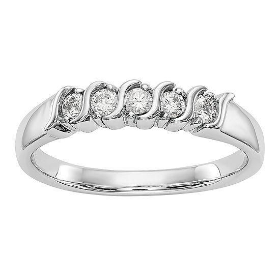 Womens 2.5MM 1/4 CT. T.W. Genuine White Diamond 14K White Gold Round Wedding Band