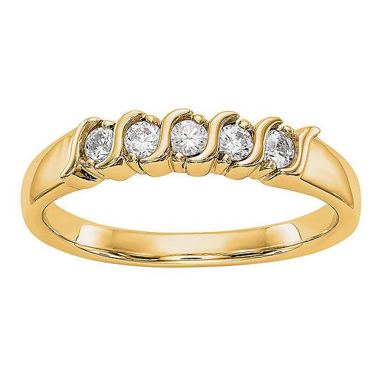 Womens 2.5MM 1/4 CT. T.W. Genuine White Diamond 14K Gold Round Wedding Band