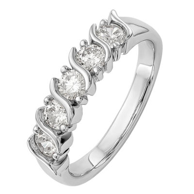 Womens 2.5mm 3/4 CT. T.W. Genuine White Diamond 14K White Gold Round Wedding Band