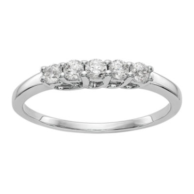 Womens 1/4 CT. T.W. Genuine White Diamond 14K White Gold Round Wedding Band