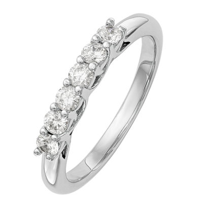 Womens 2.5mm 1/2 CT. T.W. Genuine White Diamond 14K White Gold Round Wedding Band