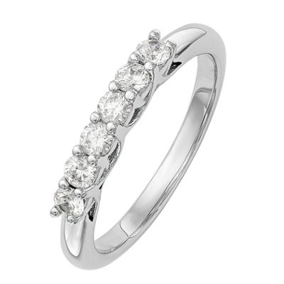 Womens 3MM 1 CT. T.W. Genuine White Diamond 14K White Gold Round Wedding Band