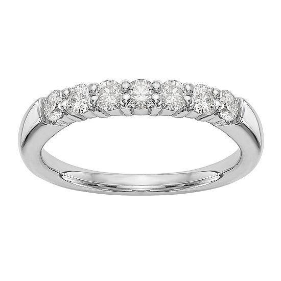 Womens 2.5MM 1 CT. T.W. Genuine White Diamond 14K White Gold Round Wedding Band
