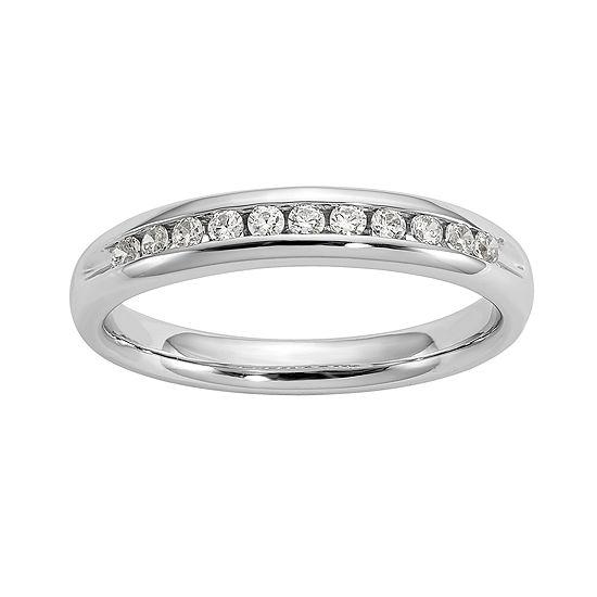 Womens 3MM 1/5 CT. T.W. Genuine White Diamond 14K White Gold Round Wedding Band