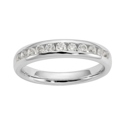 Womens 3MM 1/4 CT. T.W. Genuine White Diamond 14K White Gold Round Wedding Band