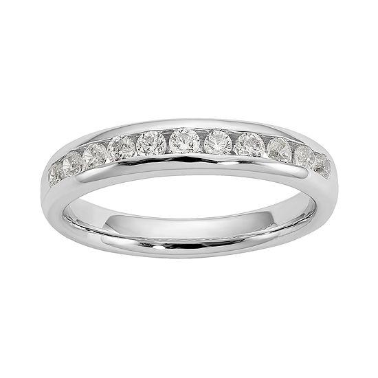 Womens 3MM 1/4 CT. T.W. Genuine White Diamond 14K White Gold Round Wedding Band