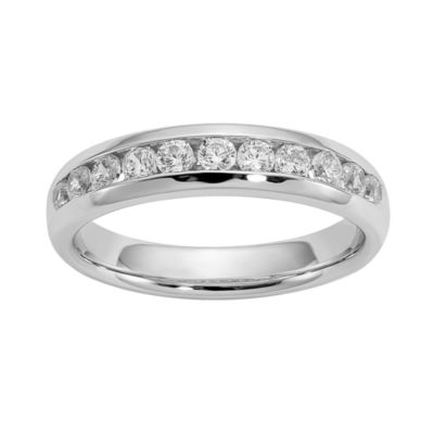 Womens 3.5MM 1/2 CT. T.W. Genuine White Diamond 14K White Gold Round Wedding Band