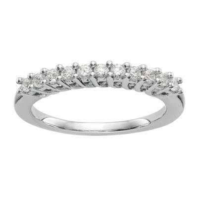 Womens 1/3 CT. T.W. Genuine White Diamond 14K White Gold Round Wedding Band