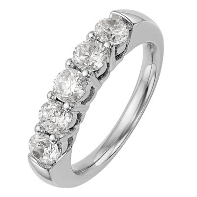 Womens 2mm 3/4 CT. T.W. Genuine White Diamond 14K White Gold Round Wedding Band