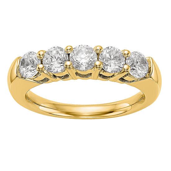 Womens 3MM 1 1/2 CT. T.W. Genuine White Diamond 14K Gold Round Wedding Band