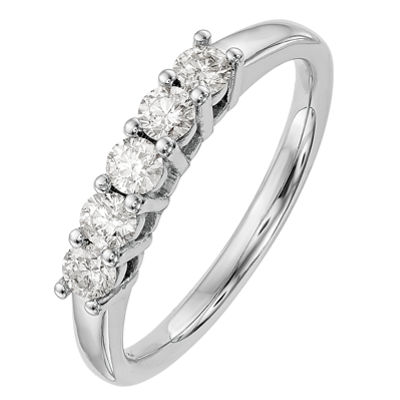 Womens 2.5mm 1 1/2 CT. T.W. Genuine White Diamond 14K White Gold Round Wedding Band