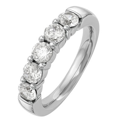 Womens 2mm 1/3 CT. T.W. Genuine White Diamond 14K White Gold Round Wedding Band