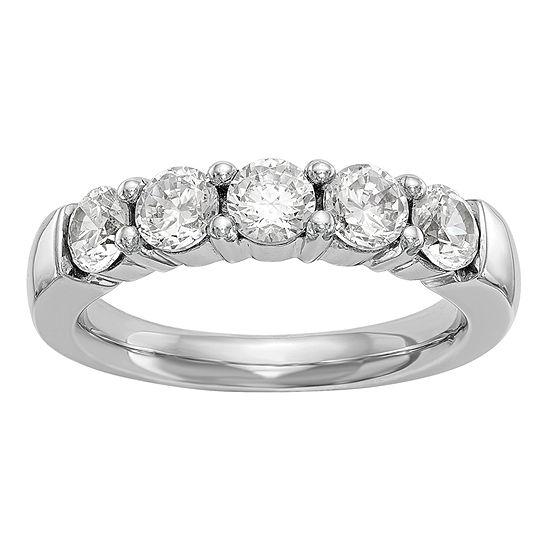 Womens 3MM 1 CT. T.W. Genuine White Diamond 14K White Gold Round Wedding Band