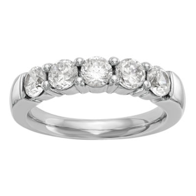 Womens 4mm 1 1/4 CT. T.W. Genuine White Diamond 14K White Gold Round Wedding Band