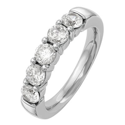 Womens 3MM 1 1/2 CT. T.W. Genuine White Diamond 14K White Gold Round Wedding Band