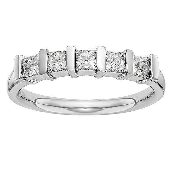 Womens 2MM 3/4 CT. T.W. Genuine White Diamond 14K White Gold Round Wedding Band