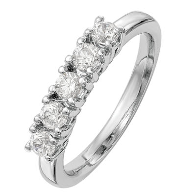 Womens 2mm 1/4 CT. T.W. Genuine White Diamond 14K White Gold Round Wedding Band