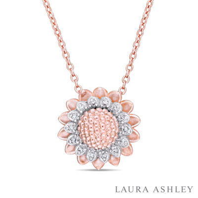 Laura Asley Womens 1/10 CT. T.W. Genuine White Diamond Sterling Silver Flower Pendant Necklace