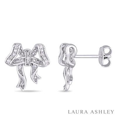 Laura Ashley 1/10 CT. T.W. Genuine White Diamond Sterling Silver 12.8mm Stud Earrings