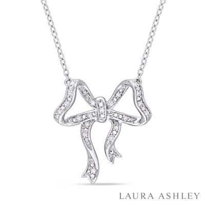 Laura Asley Womens 1/10 CT. T.W. Genuine White Diamond Sterling Silver Bow Pendant Necklace