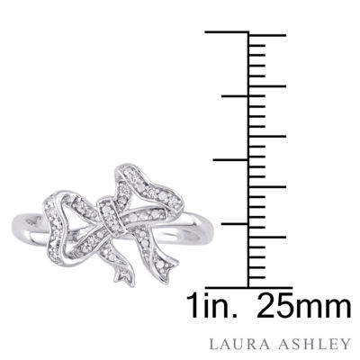 Laura Ashley Womens Diamond Accent White Diamond Sterling Silver Cocktail Ring