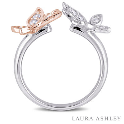 Laura Ashley Womens 1/4 CT. T.W. Genuine White Diamond Sterling Silver Flower Cocktail Ring