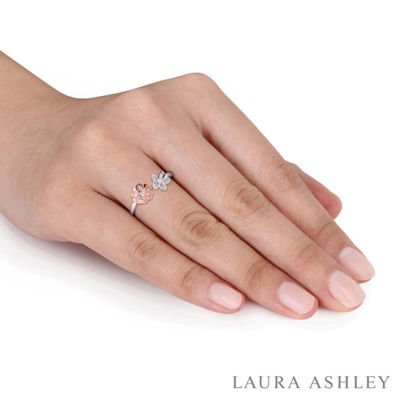 Laura Ashley Womens 1/10 CT. T.W. Genuine White Diamond Sterling Silver Flower Cocktail Ring