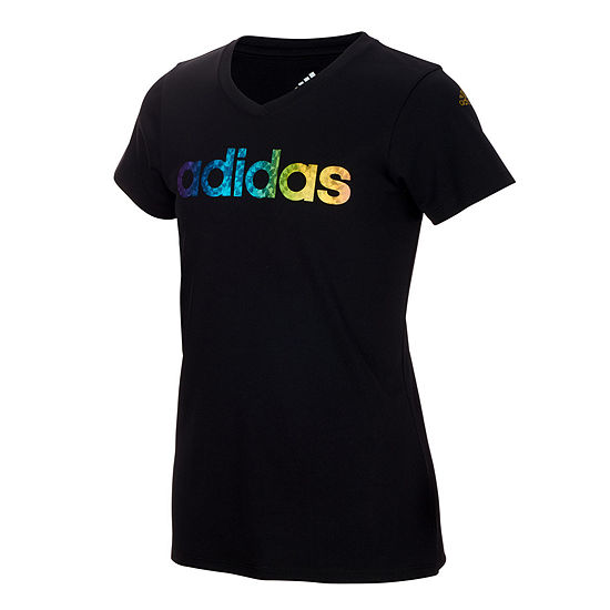 adidas Girls V Neck Short Sleeve Moisture Wicking T-Shirt-Big Kid
