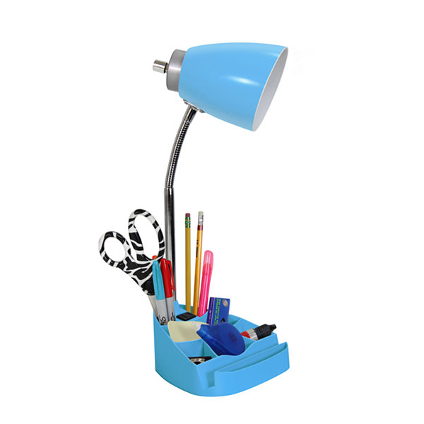 Limelights Gooseneck Organizer Desk Lamp with iPad Tablet Stand Book Holder and Charging Outlet