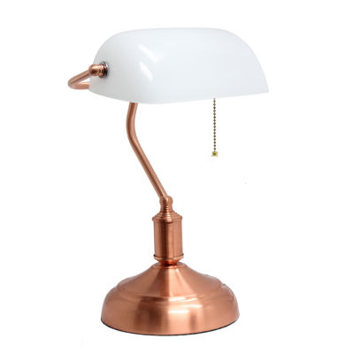 Simple Designs Executive Banker's Desk Lamp with White Glass Shade