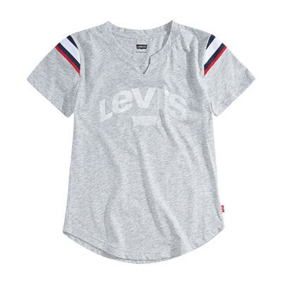 Levi's Girls Split Crew Neck Short Sleeve Graphic T-Shirt-Big Kid