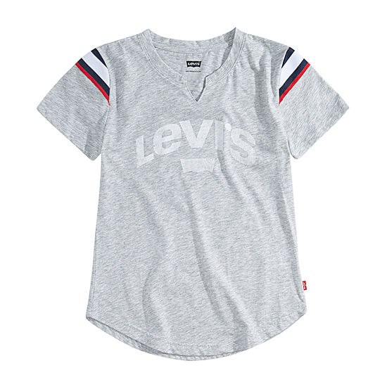 Levi's Girls Split Crew Neck Short Sleeve Graphic T-Shirt