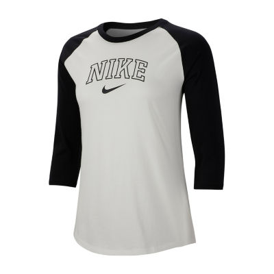 Nike Varsity Raglan Tee-Womens Crew Neck 3/4 Sleeve T-Shirt