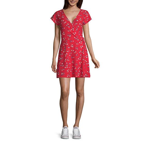 Arizona-Juniors Short Sleeve Floral Wrap Dress