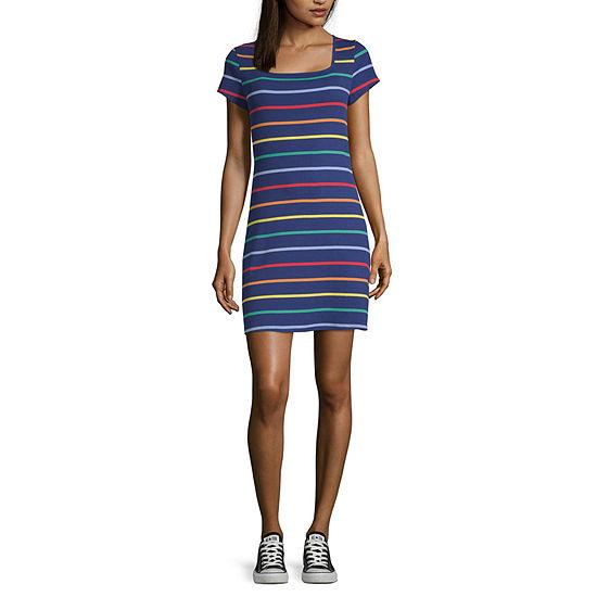 Arizona Short Sleeve Striped Bodycon Dress-Juniors