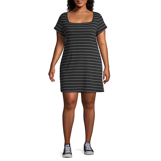 Arizona-Juniors Short Sleeve Striped Bodycon Dress