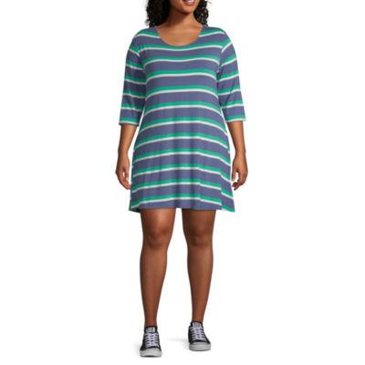 Arizona 3/4 Sleeve Striped T-Shirt Dresses - Juniors