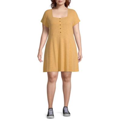 Arizona Short Sleeve Skater Dress-Juniors