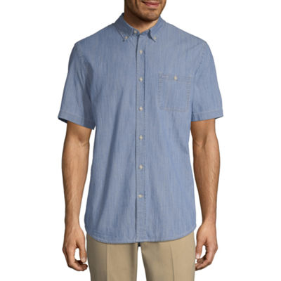 St. John's Bay Mens Short Sleeve Button-Front Shirt