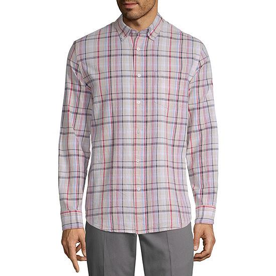 St Johns Bay Mens Long Sleeve Plaid Button Front Shirt