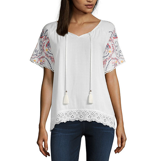 Artesia Womens V Neck Short Sleeve Embroidered Blouse