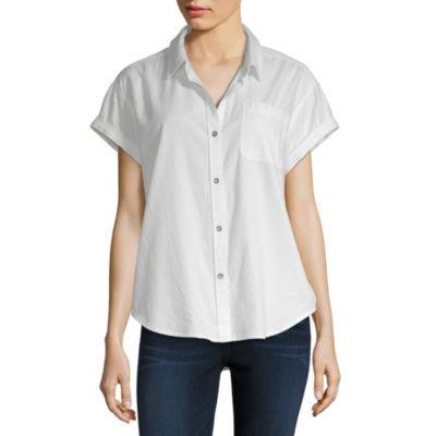 Vanilla Star Womens Short Sleeve Camp Shirt-Juniors