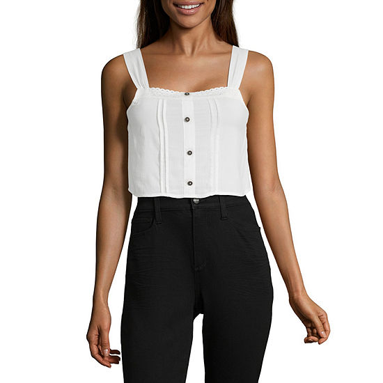 Society And Stitch Womens Square Neck Sleeveless Crop Top-Juniors