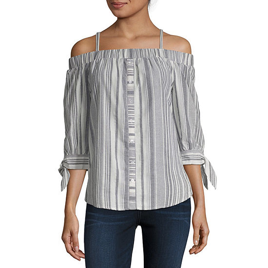 Byby Womens Boat Neck 3 4 Sleeve Blouse Juniors
