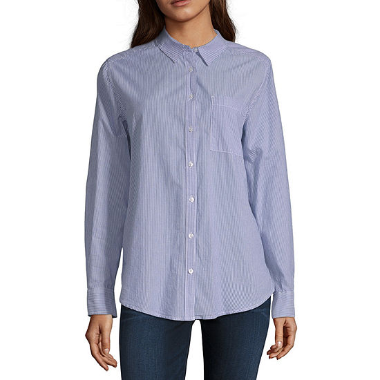 Arizona Womens Long Sleeve Loose Fit Button-Front Shirt-Juniors