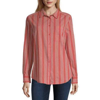Arizona Womens Long Sleeve Button-Front Shirt-Juniors