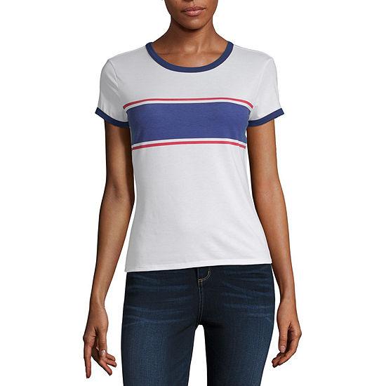 Arizona Womens Round Neck Short Sleeve T Shirt Juniors